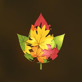 Double exposure autumn illustration in flat style