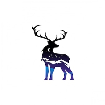 Double exposure deer logo design