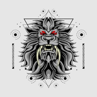 Double fangs lion sacred geometry