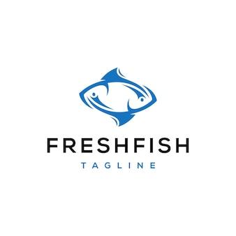 Double fish logo design template