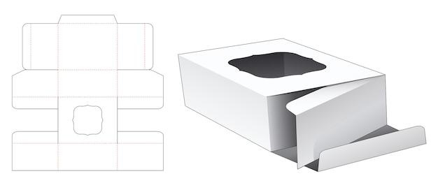 ディスプレイウィンドウダイカットテンプレート付きダブルフリップボックス