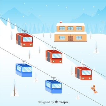 Double funicular winter illustration