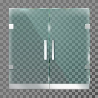 Double glass door. mall store entrance doors in steel metal frame for modern office or shop isolated template