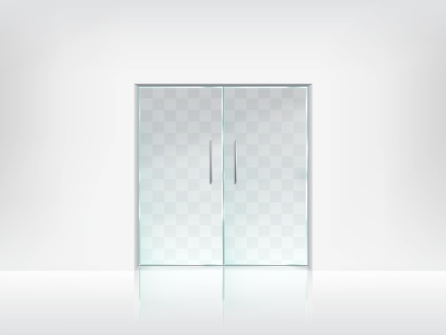 Double glass door transparent vector template