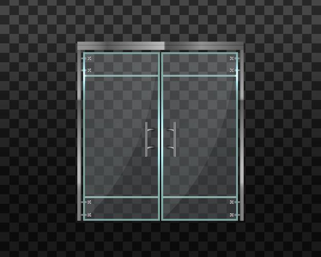 Двойные стеклянные двери в торговый центр или офис. стеклянная дверь офиса или торгового центра, изолированные на прозрачном фоне. под магазин, магазин, торговый центр, бутик, офисное здание. иллюстрации.