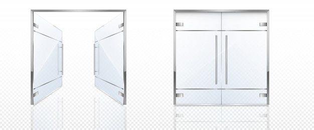 Double glass doors with metal frame and handles.