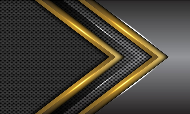 Double gold dark grey metallic arrow direction circle mesh futuristic background.