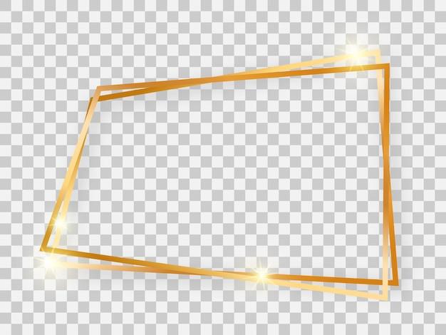 Двойная золотая блестящая трапециевидная рамка со светящимися эффектами и тенями на прозрачном фоне. векторная иллюстрация