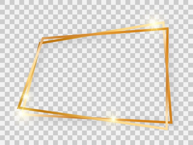 Double gold shiny trapezoid frame with glowing effects and shadows on transparent background. vector illustration