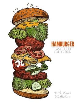 고기, 샐러드, 치즈 및 야채와 함께 더블 햄버거. 손으로 그린 다채로운 음식 조각.
