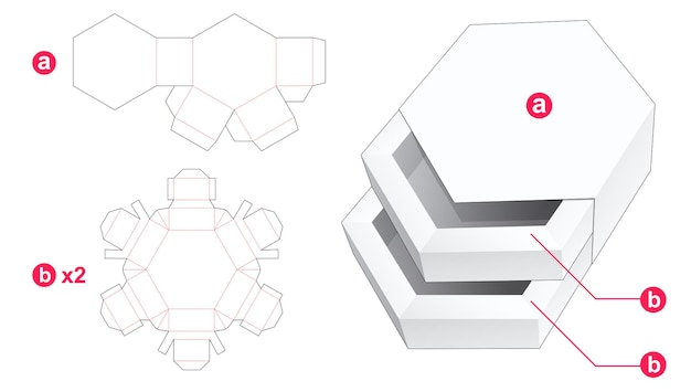 Double hexagonal shaped drawer with cover die cut template