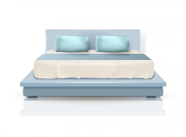 Double king size bed with blue pillows and blanket