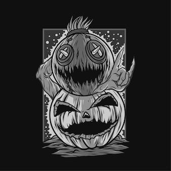 Double mask scarecrow halloween black and white illustration