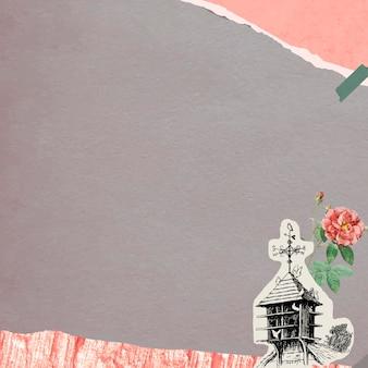 Двойная моховая роза и скворечник на фоне рваной коричневой бумаги