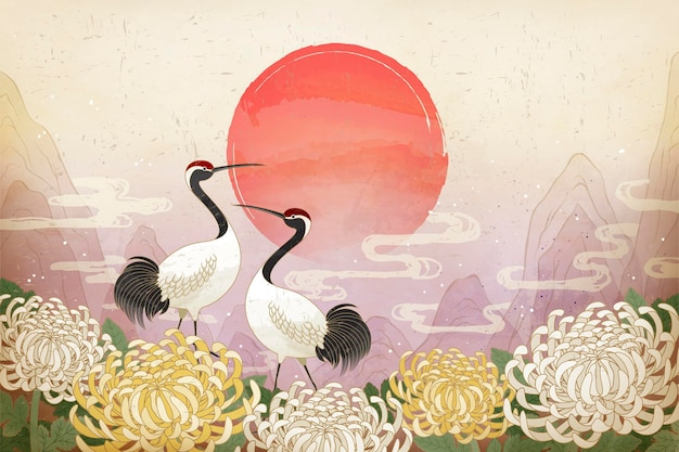 Double ninth festival with red crowned crane and chrysanthemum background