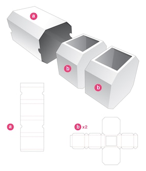 Double octagonal box with cover die cut template