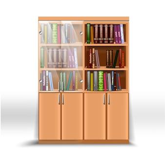 さまざまな主題に関する本のセットを備えたダブルオフィスの本棚