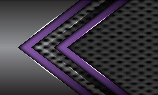 Double purple dark grey metallic arrow direction circle mesh futuristic background.