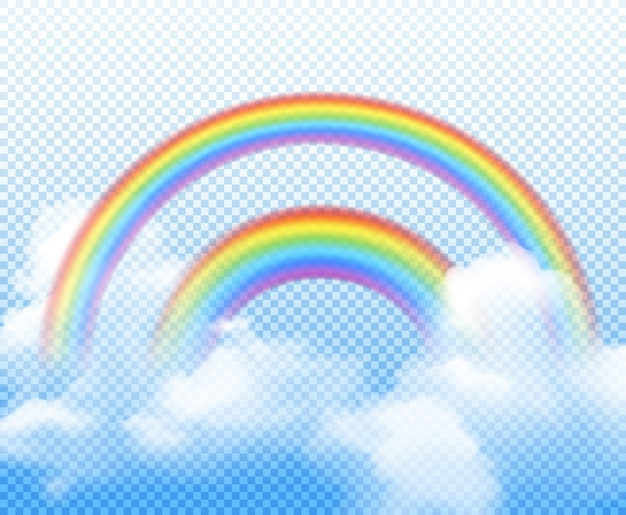 Двойная радуга из разных полукругов с белыми облаками реалистичной композиции на прозрачном