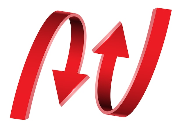 Double red arrow 3d curve direction on white background.