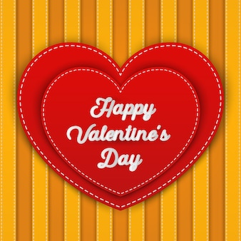 Double red heart with happy valentine's day word,