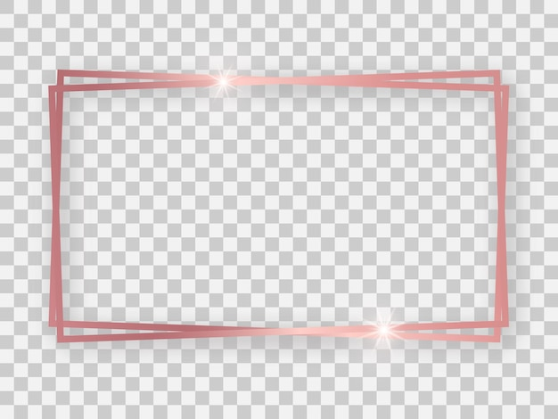 透明な背景に輝く効果と影のあるダブルローズゴールドの光沢のある16x9の長方形のフレーム。ベクトルイラスト