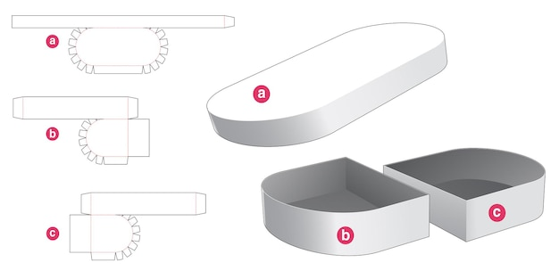 Double round box and round lid die cut template