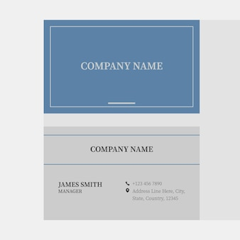 Double-side of horizontal business card template layout in blue and gray color.