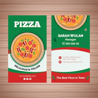 Double-sided business card for pizza bistro