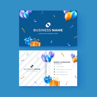 Double-sided business card template for birthday celebration