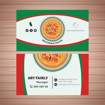 Double-sided business card template for pizza restaurant
