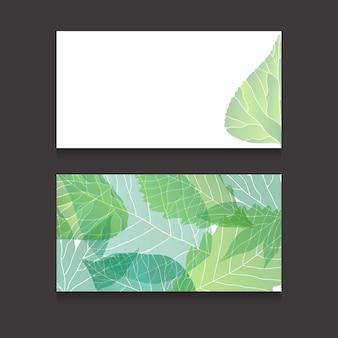 緑の葉とコピースペースを持つ両面名刺テンプレート