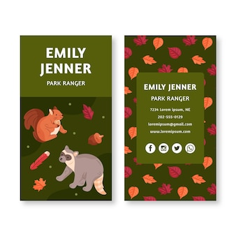 Double-sided business card template with animals from the forest
