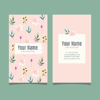 Double-sided business card template with flowers