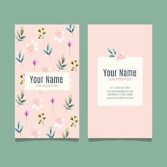Шаблон двусторонней визитки с цветами