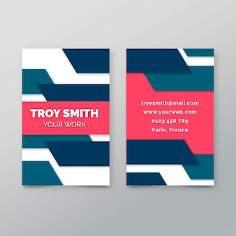 Double-sided business card template with geometric lines
