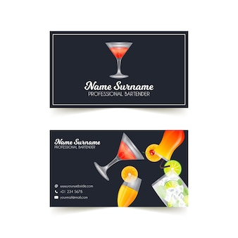 Double sided business card with cocktails illustrated