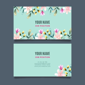Double-sided business card with flowers
