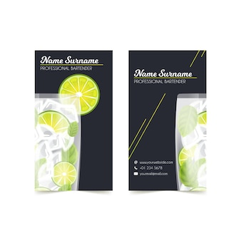 Double sided business card with mojito illustrated