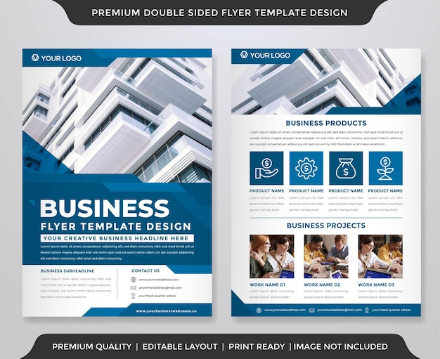 Double sided flyer template with simple style and modern layout premium vector