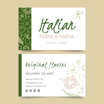 Двусторонняя горизонтальная визитка для ресторана итальянской кухни