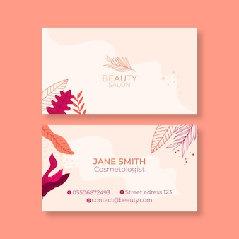 Double-sided horizontal business card template for beauty salon