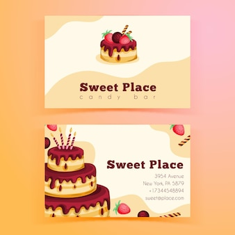 Double-sided horizontal business card template for birthday party