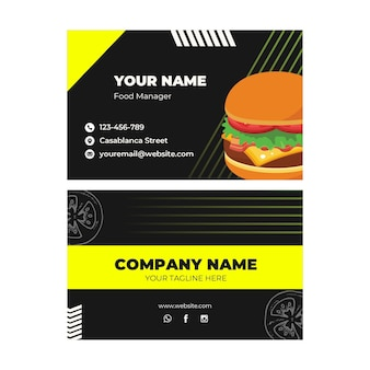 Double-sided horizontal business card template for burger restaurant