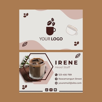 Double-sided horizontal business card template for coffee shop