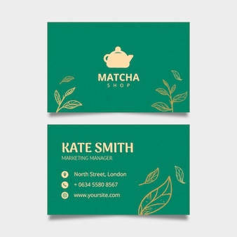 Double-sided horizontal business card template for matcha tea