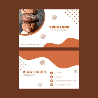 Double-sided horizontal business card template for pastry shop