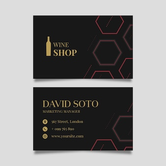 Double-sided horizontal business card template for wine tasting
