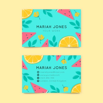 Double-sided horizontal business card template with citrus