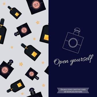 Двусторонняя современная открытка для модных женщин бесшовный узор